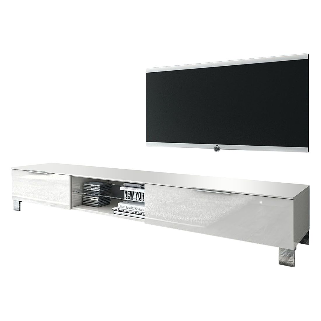 Meuble TV Margherita III - Blanc brillant - 180 cm, Lc Mobili