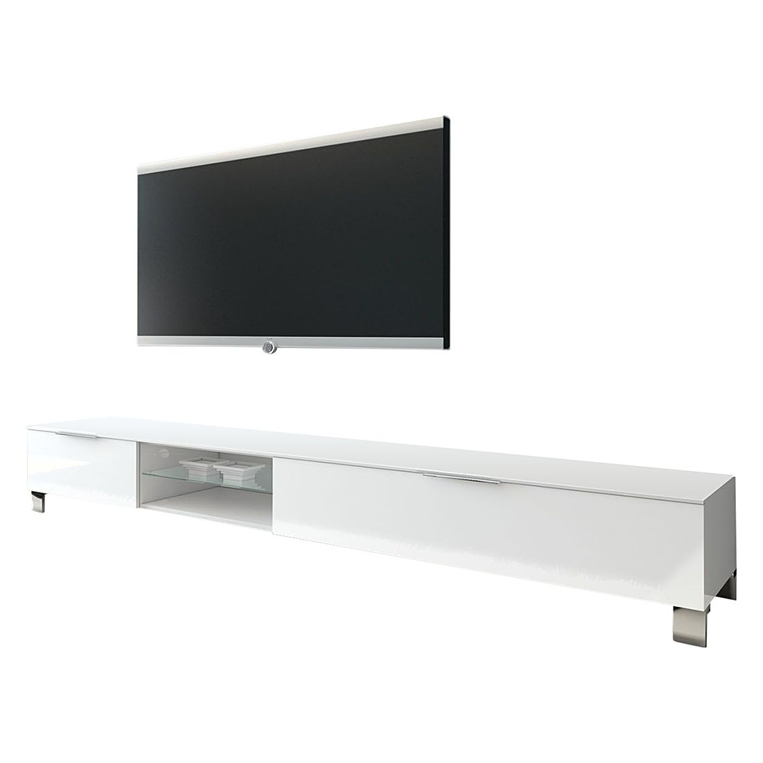 Tv-lowboard Margherita III hoogglans wit 210cm, Lc Mobili