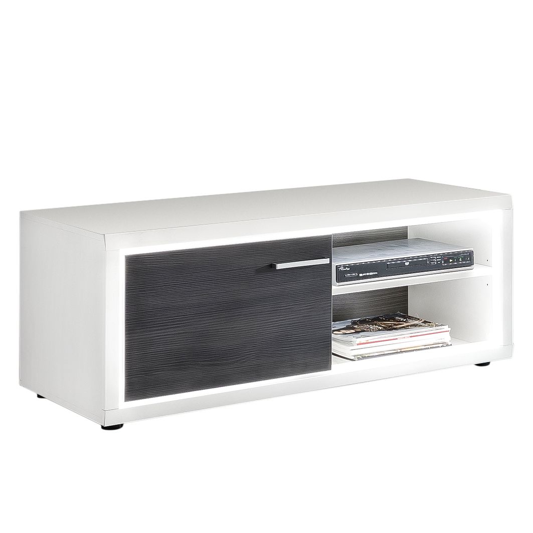 EEK A+, Meuble TV Piorini I - Imitation pin anthracite / Blanc, mooved