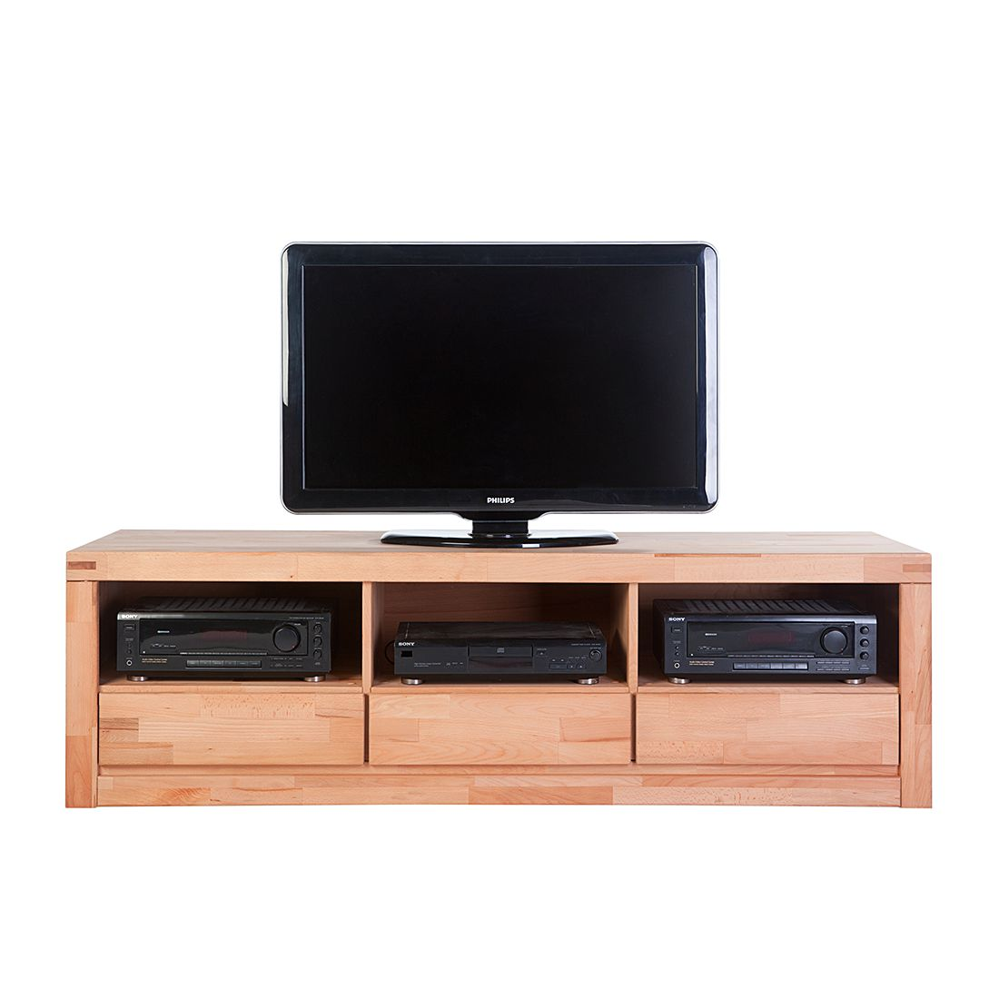 Meuble TV bas Merle - Duramen de hêtre naturel huilé - 174 cm, Ars Natura
