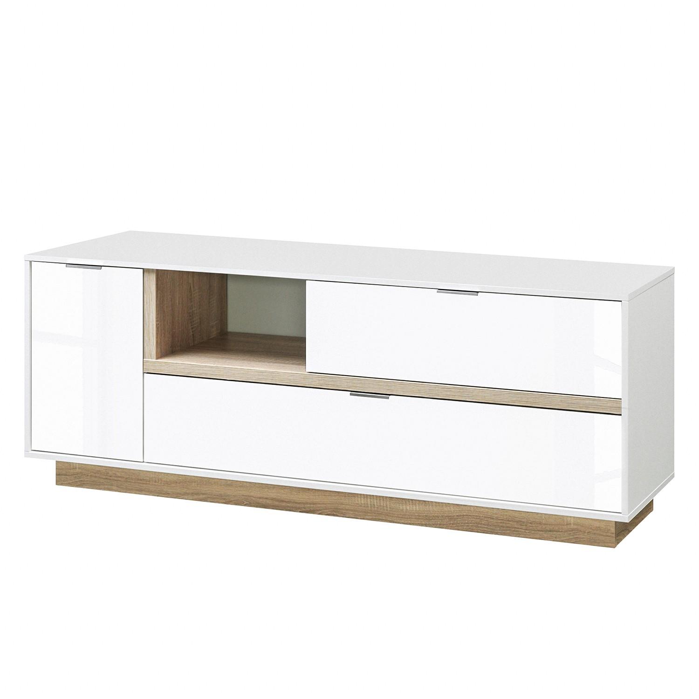 Meuble TV My Ell I - Blanc brillant / Imitiation chêne, Cs Schmal