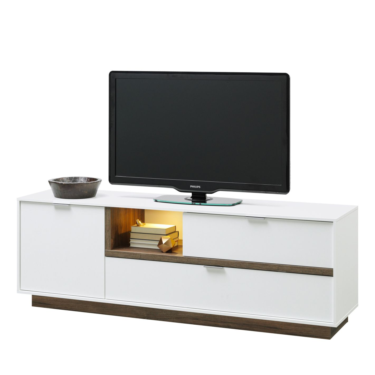 Meuble TV My Ell II - Blanc / Imitation chêne de Stirling, Cs Schmal