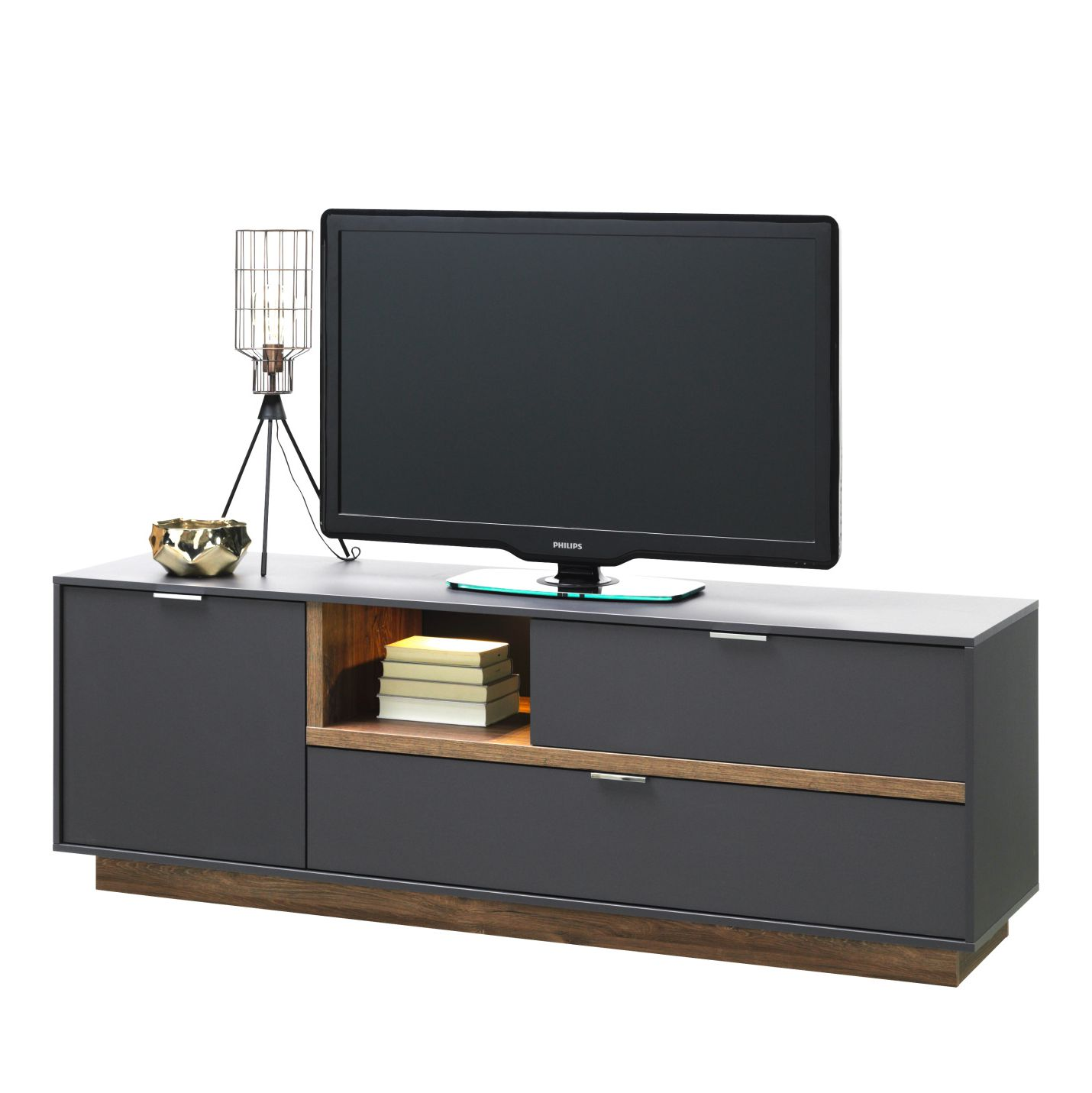Meuble TV My Ell II - Graphite / Imitation chêne de Stirling, Cs Schmal