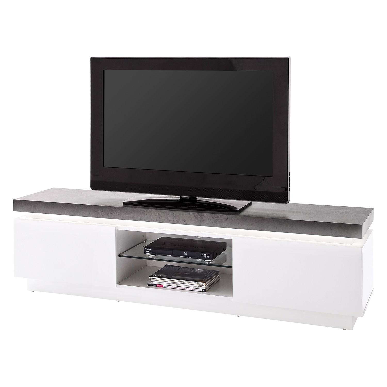 EEK A+, Meuble TV Namona I (éclairage fourni) - Blanc / Anthracite, Fredriks