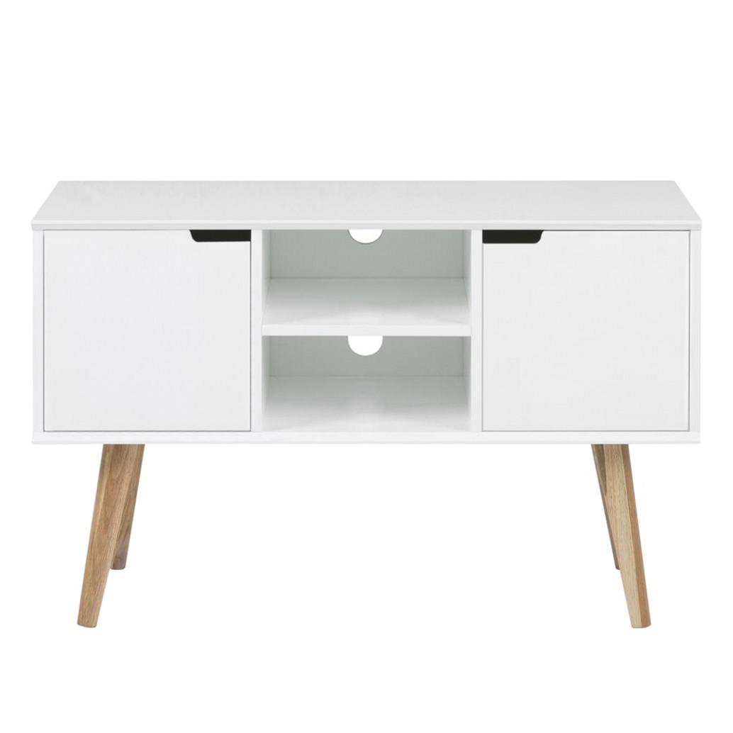 Mobile TV Nees - Parzialmente in legno massello di quercia Bianco, Morteens