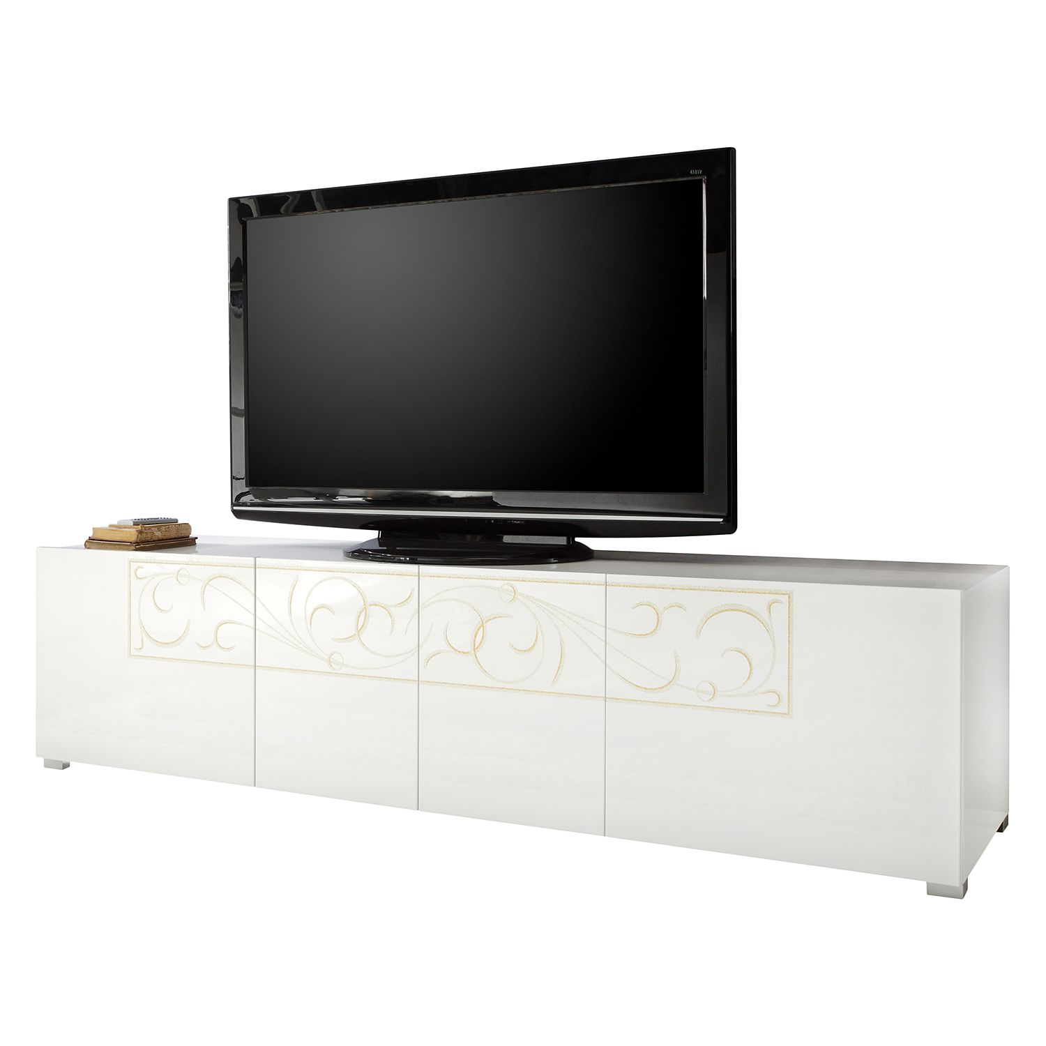Meuble TV Padua LC - Blanc brillant, Lc Mobili