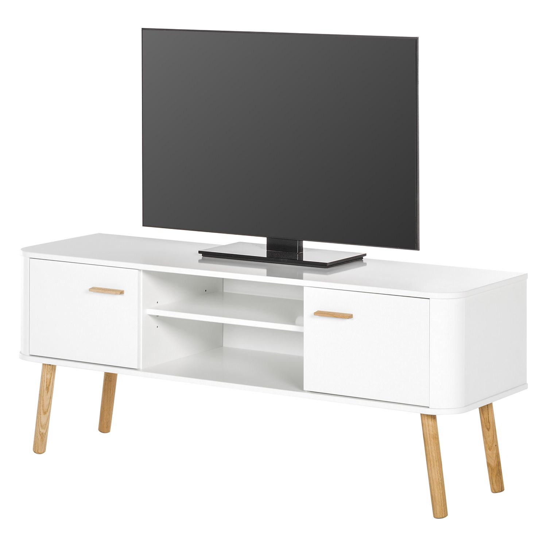 Mobile TV Pilara - Parzialmente in legno massello di quercia/Bianco, Morteens