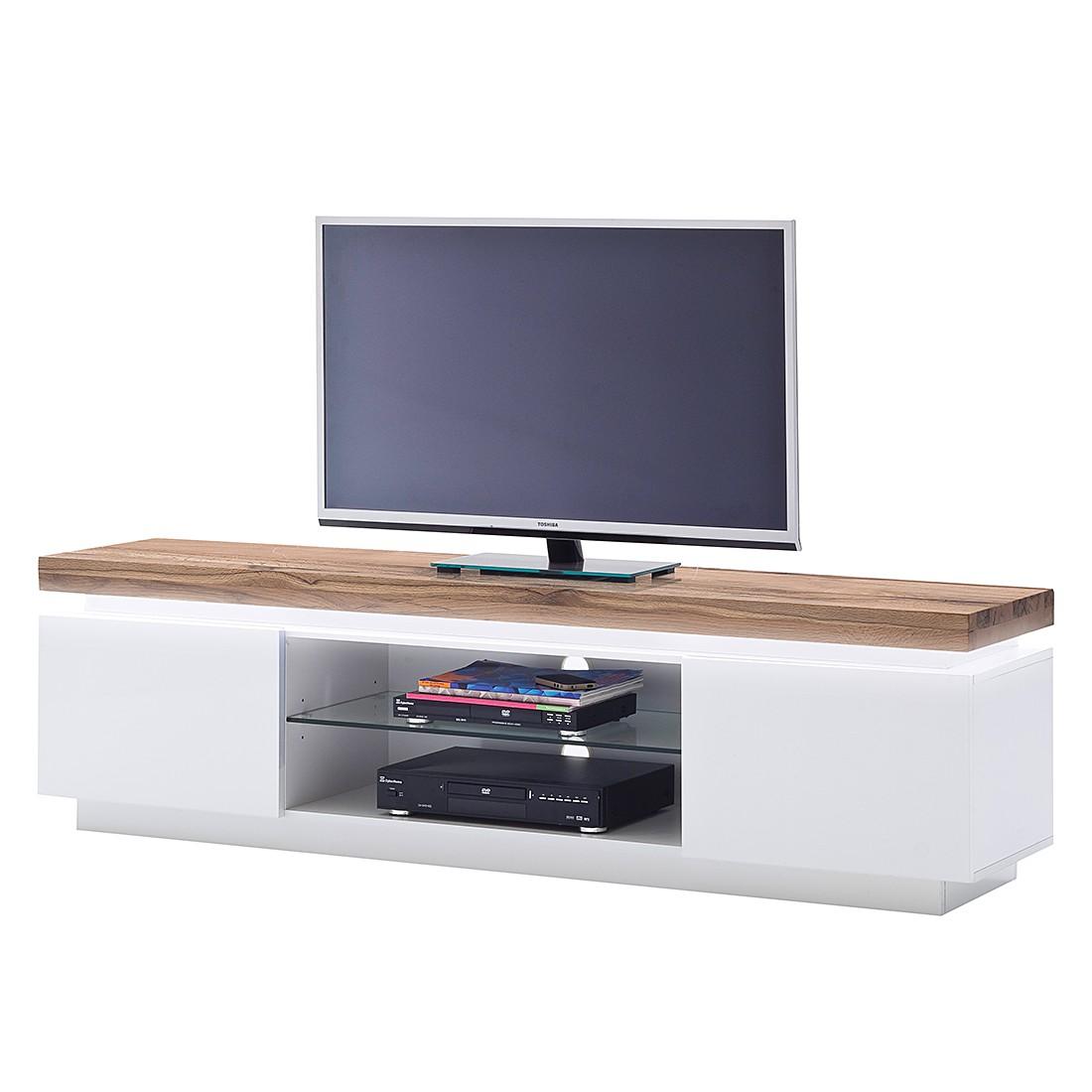 energia A+, Mobile TV Roble I (inclusivo di illuminazione) - Bianco opaco/Inserto in legno massello quercia selvatica, Fredriks