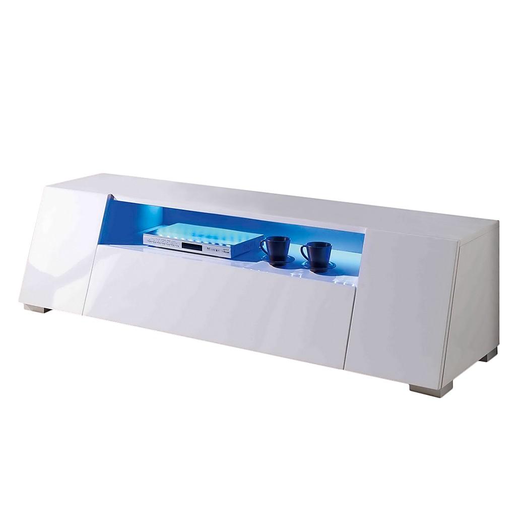 EEK A+, Meuble TV Roomconcept (éclairage LED fourni) Blanc brillant, Fredriks