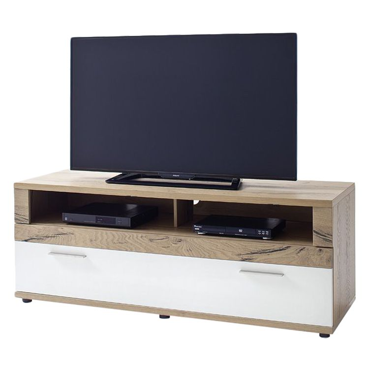 Meuble TV Serrata I - Blanc mat / Chêne rustique, Fredriks