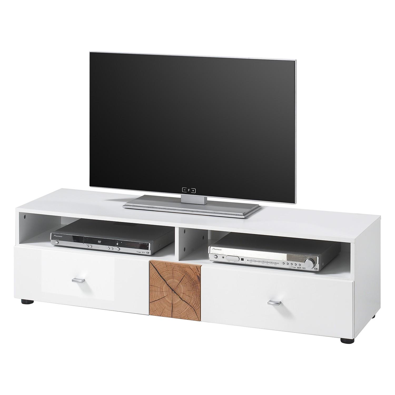 Meuble TV Sibo - Blanc brillant / Imitation chêne, mooved