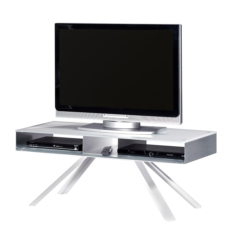 Meuble TV Smart TV - Verre / Aluminium - Blanc / Argenté, Jahnke