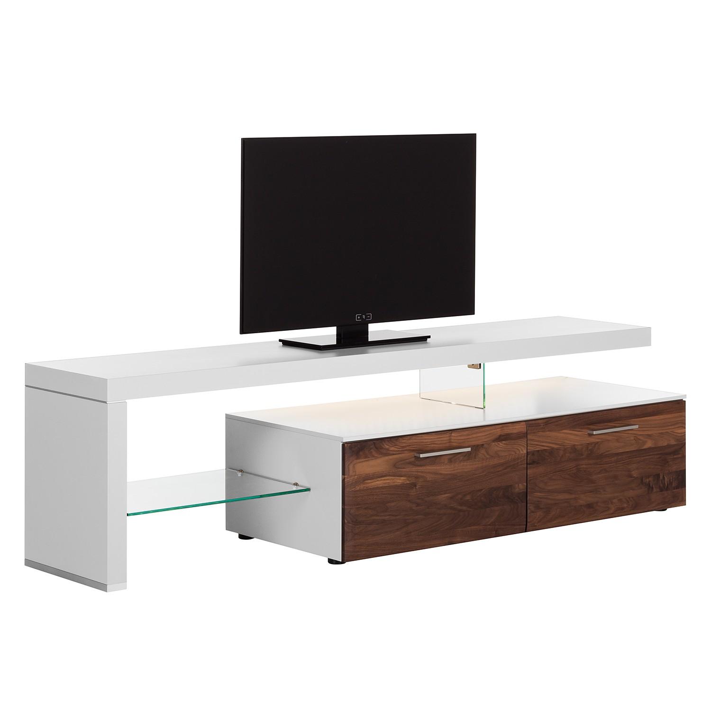 EEK A+, Meuble TV Solano I - Avec éclairage - Noix / Blanc - Avec meuble TV à gauche, Netfurn by GWI