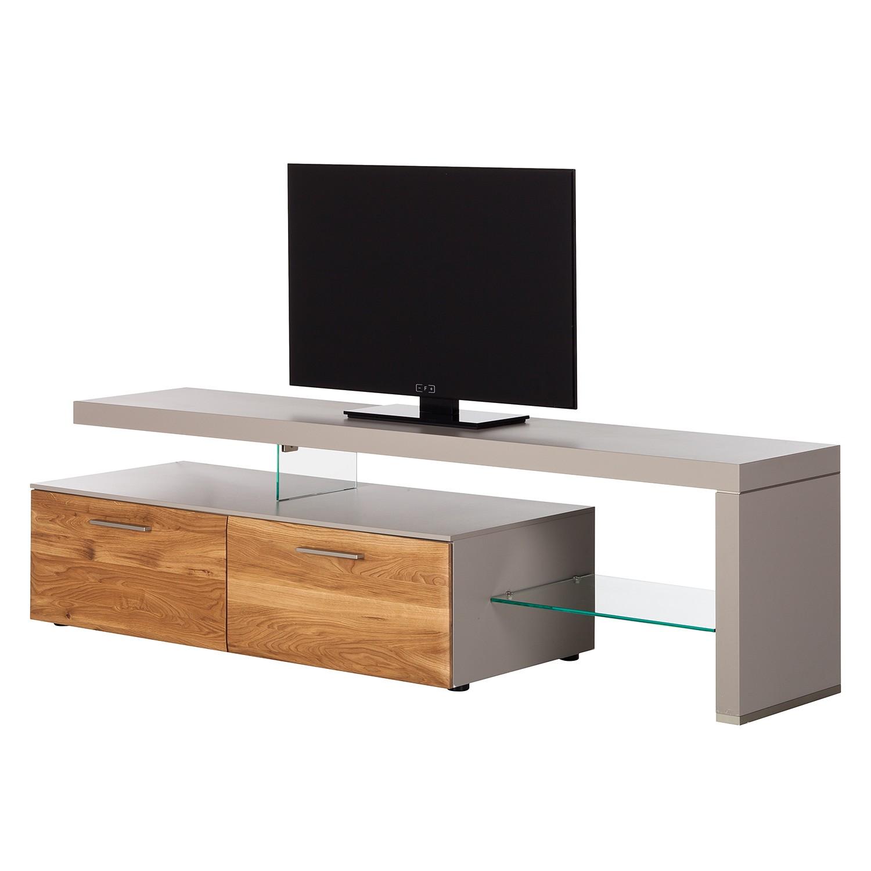 Meuble TV Solano I - Sans éclairage - Chêne noueux / Gris platine - Avec meuble TV à droite, Netfurn