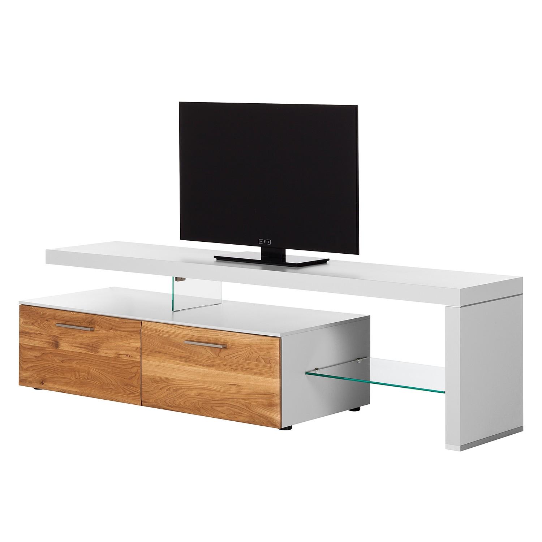 TV-Lowboard Solano I - Ohne Beleuchtung - Asteiche / Weiß - Mit TV-Bank rechts, Netfurn by GWINNER