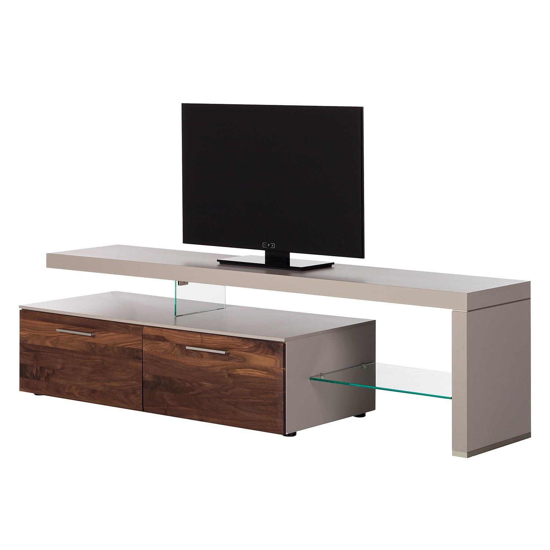 Meuble TV Solano I - Sans éclairage - Noyer / Gris platine - Avec meuble TV à droite, Netfurn by GWI
