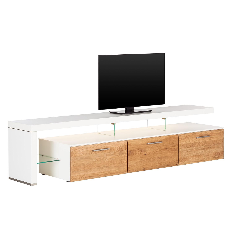 EEK A+, TV-Lowboard Solano II - Mit Beleuchtung - Asteiche / Weiß - Mit TV-Bank links, Netfurn by GWINNER