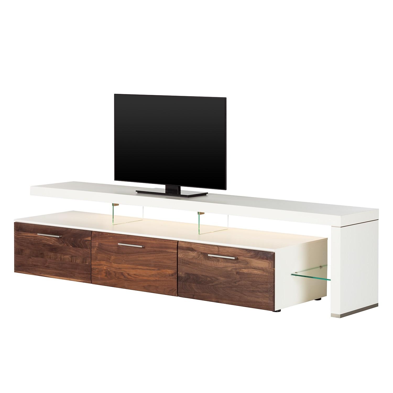 EEK A+, TV-Lowboard Solano II - Mit Beleuchtung - Nussbaum / Weiß - Mit TV-Bank rechts, Netfurn by GWINNER
