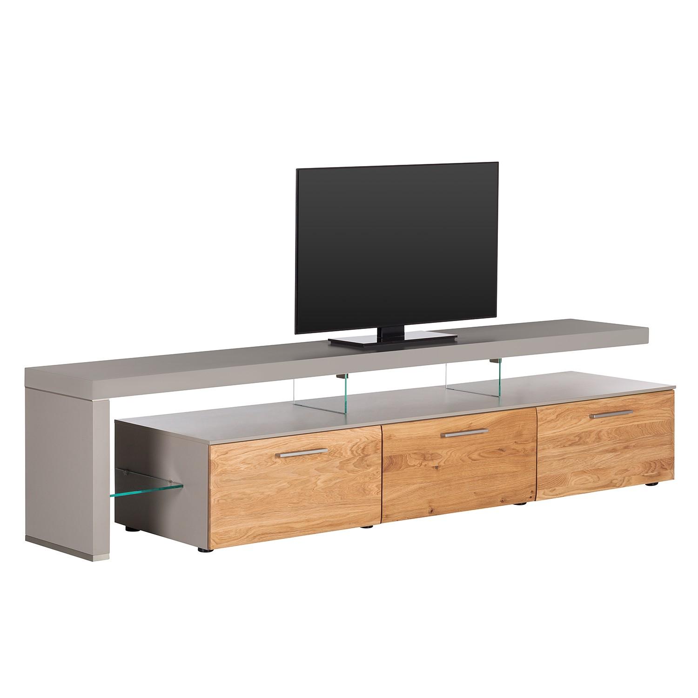 TV-Lowboard Solano II - Ohne Beleuchtung - Asteiche / Platingrau - Mit TV-Bank links, Netfurn by GWINNER
