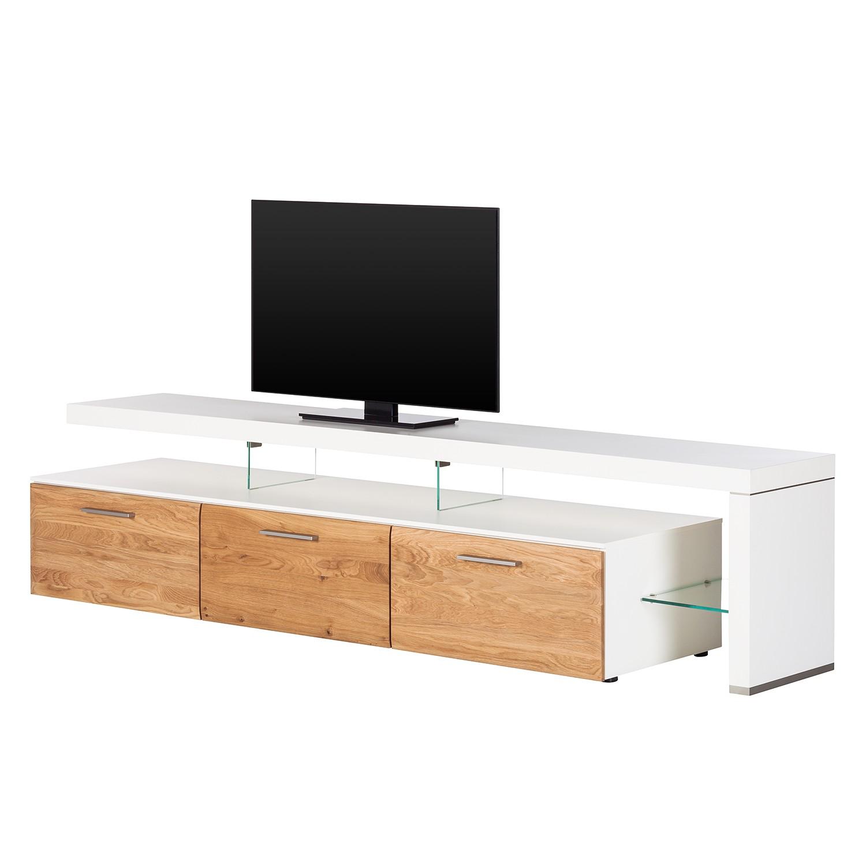 Meuble TV Solano II - Sans éclairage - Chêne noueux / Blanc - Avec meuble TV à droite, Netfurn by GW