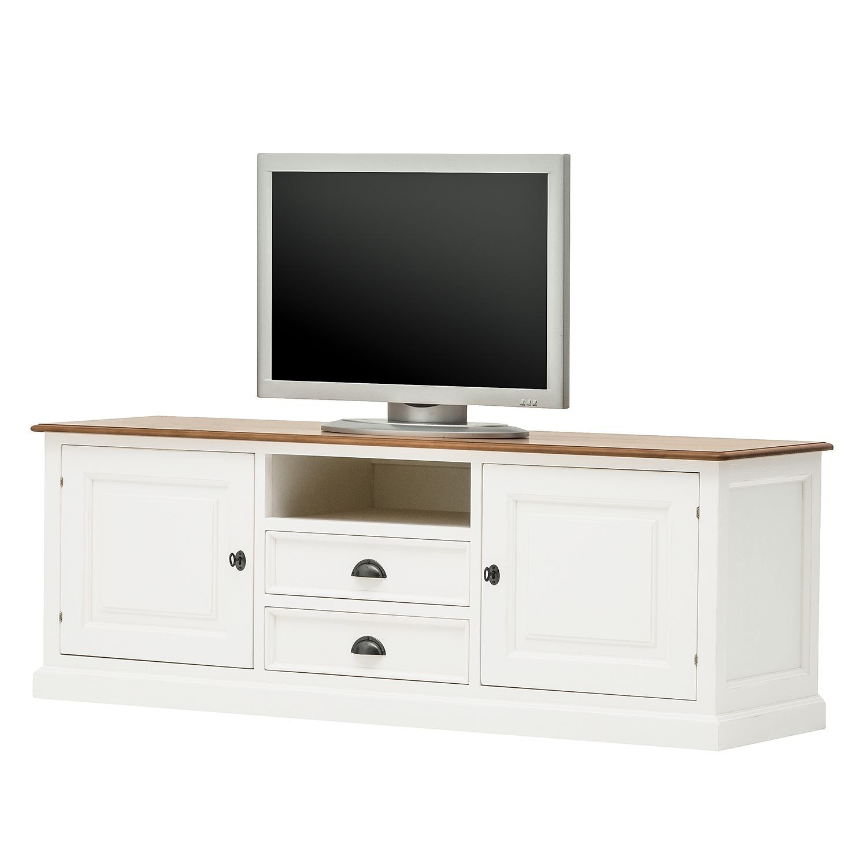 Meuble TV Sollerön - Partiellement en pin massif - Pin blanc / Pin couleur miel / Noir, Ridgevalley