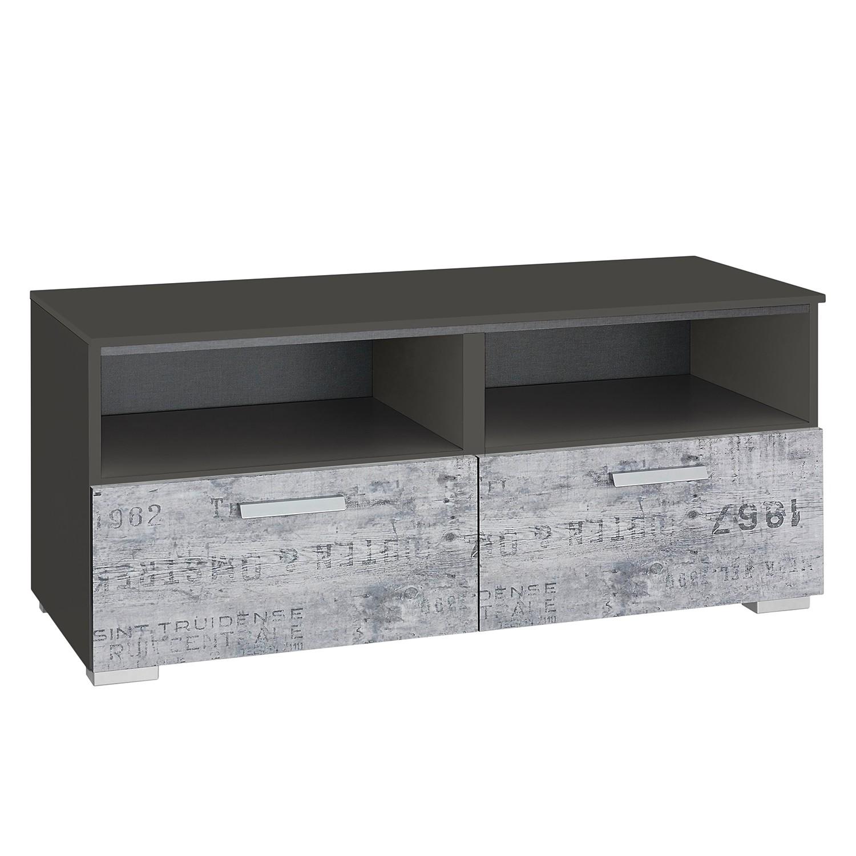 Meuble tv sumatra gris vintage gris fonc rauch for Meuble tv gris fonce