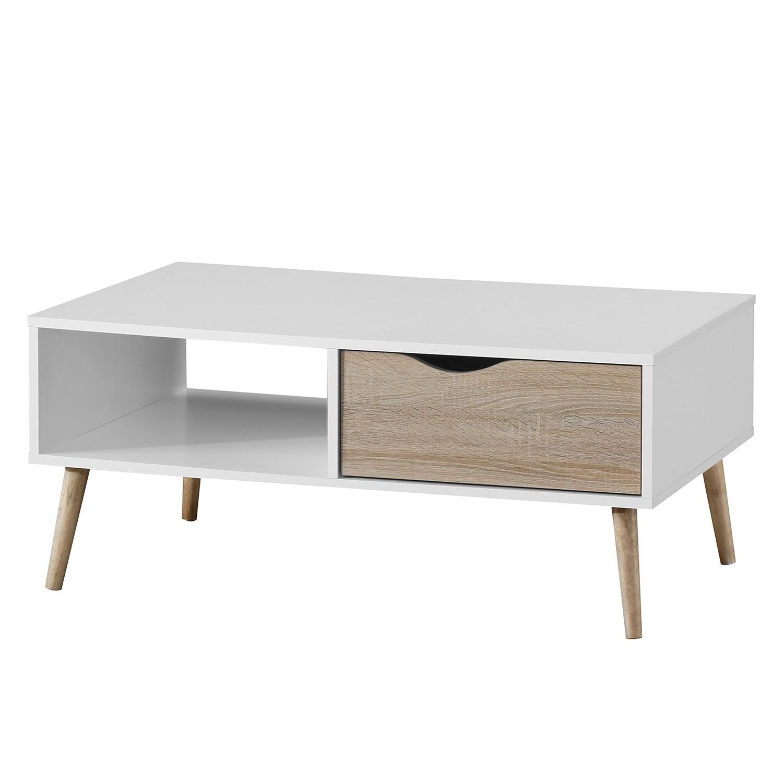 Table basse Sunndal - Partiellement en caoutchouc massif - Blanc / Imitation chêne, Morteens