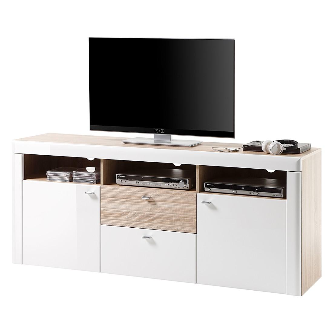 Meuble TV Telemann II - Blanc brillant / Imitation chêne de Sonoma, loftscape