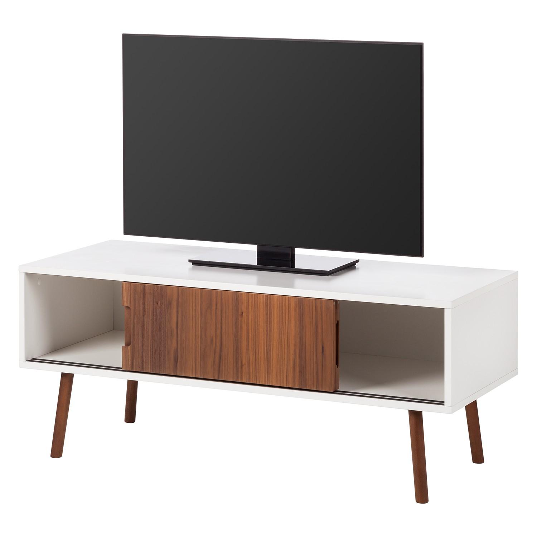 TV-Lowboard Verwood II - Weiß / Nussbaum
