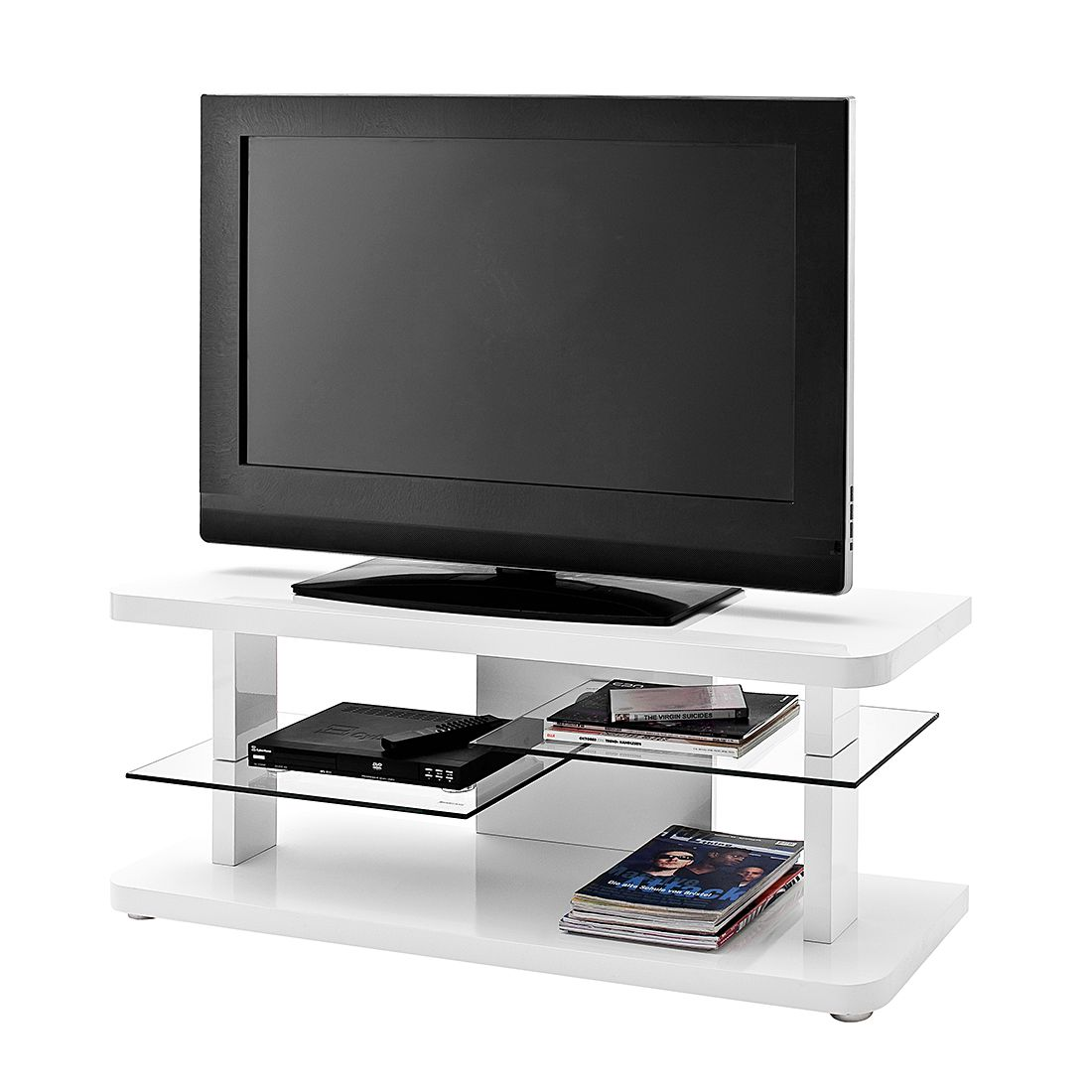 Meuble verre guide d 39 achat for Meuble tv blanc 110 cm