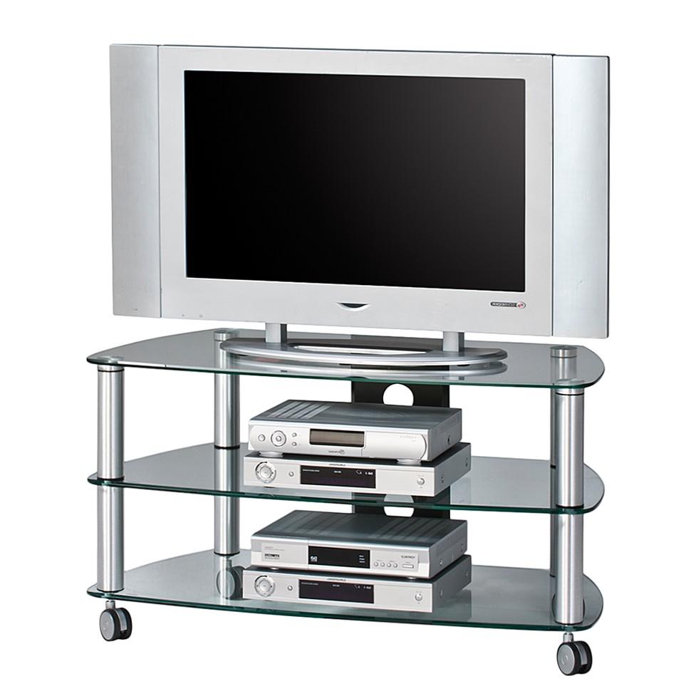 Meuble TV Glenview I - Aluminium / Verre clair, Maja Möbel