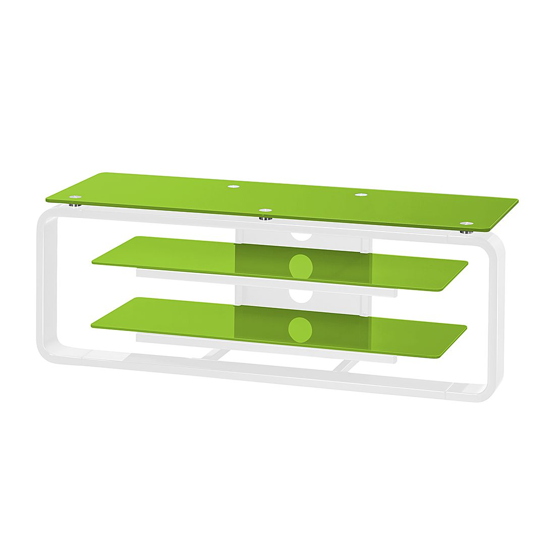 Meuble TV Rack Jared I - Blanc / Verre vert - 110 cm, Maja Möbel