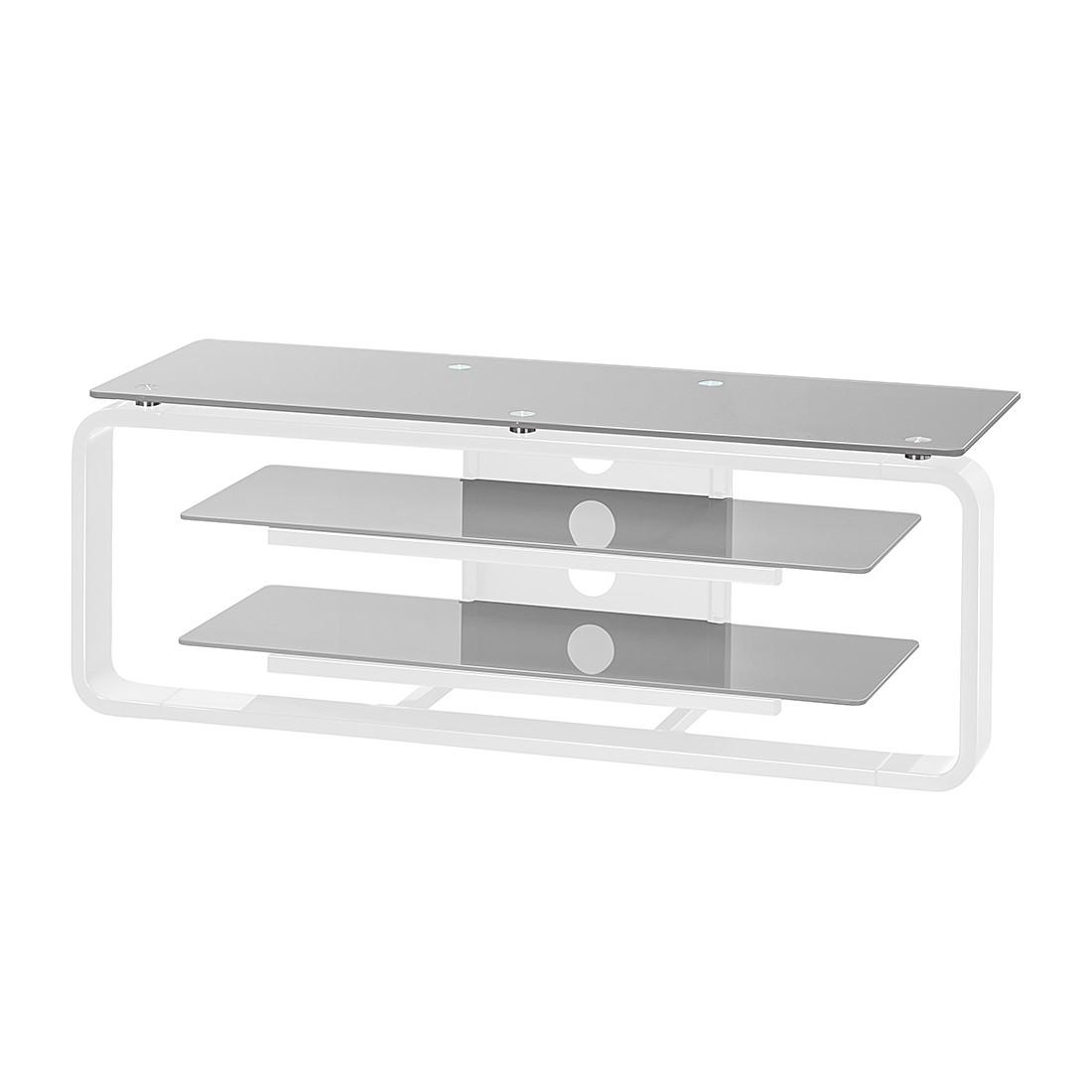 Mobiletto TV Jared I - Bianco / Vetro grigio platino - 110 cm, Maja Möbel