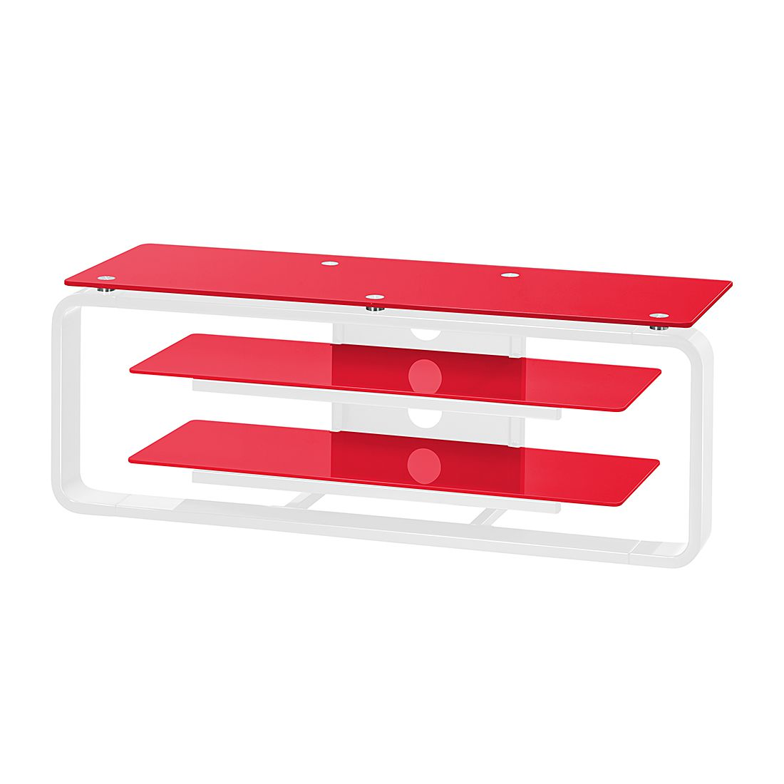 Meuble TV Rack Jared I - Blanc / Verre rouge - 110 cm, Maja Möbel