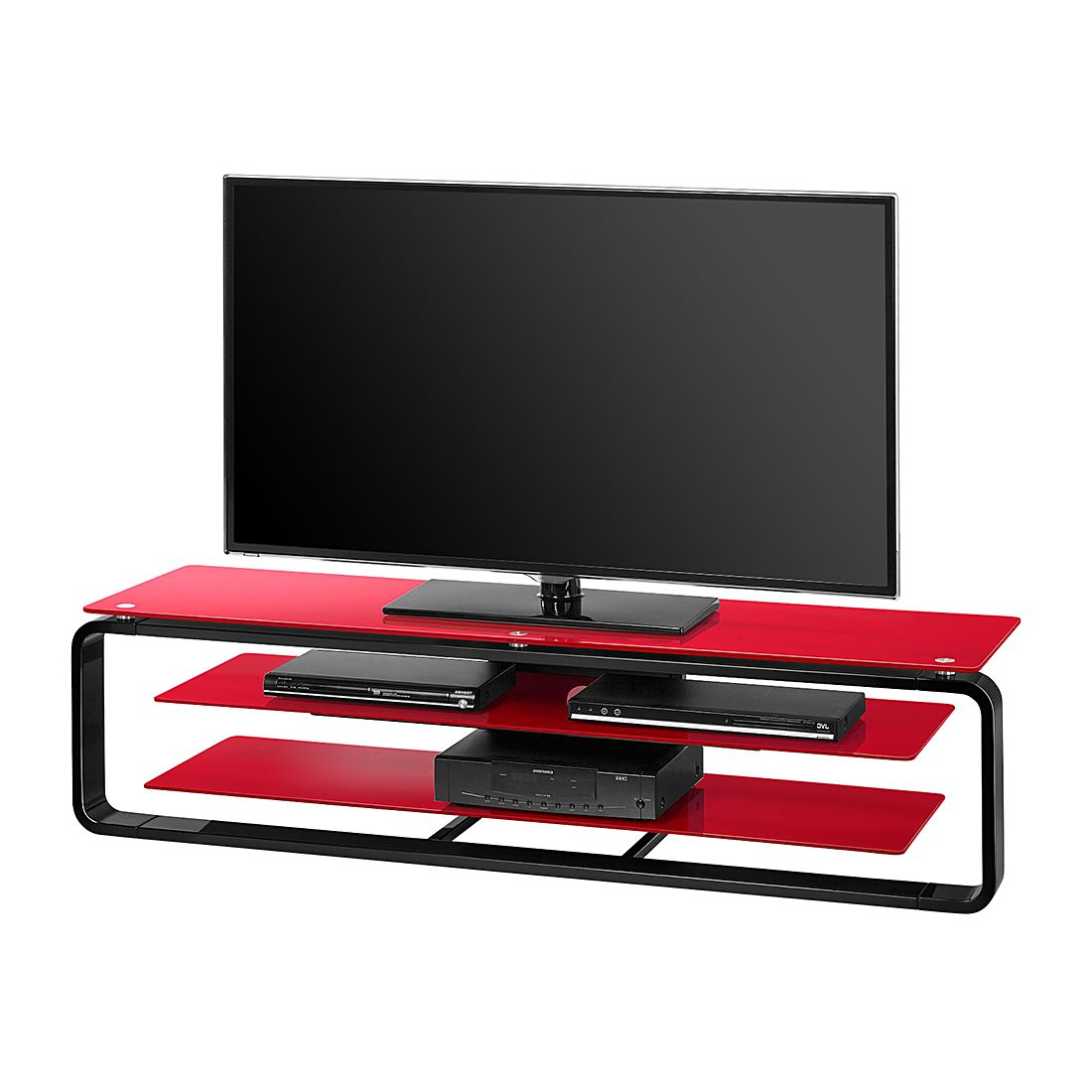 tv rack jared i schwarz glas rot 150 cm maja m bel g nstig kaufen. Black Bedroom Furniture Sets. Home Design Ideas