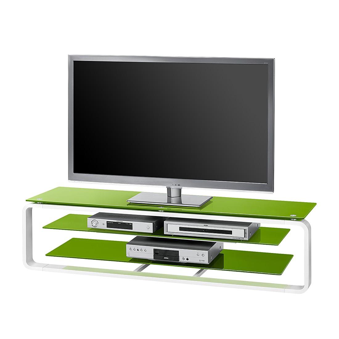 Tv-rek Jared I - Wit/groen glas - 150cm, Maja Möbel