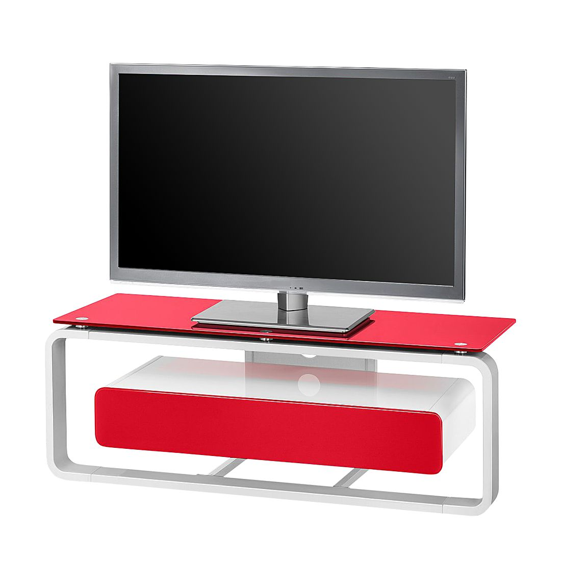 Home 24 - Meuble tv shanon i - blanc brillant - blanc / verre rouge - 110 cm, maja möbel