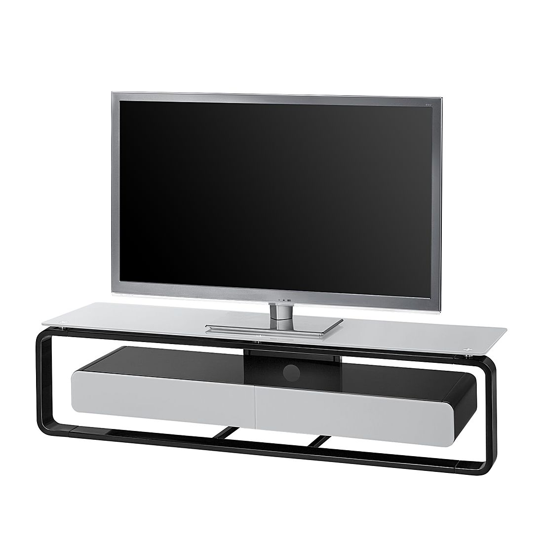 tv rack shanon schwarz glas platingrau 150 cm maja. Black Bedroom Furniture Sets. Home Design Ideas