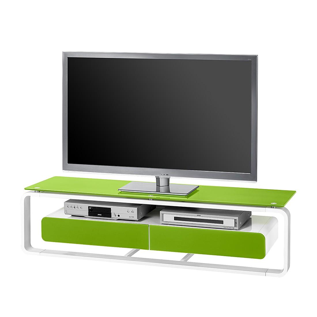 Supporto TV Shanon - Bianco / Vetro verde - 150 cm, Maja Möbel