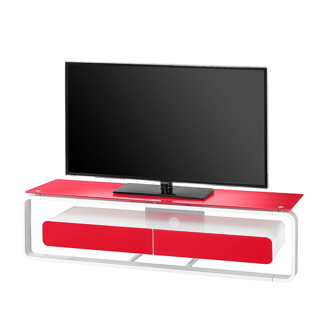 Supporto TV Shanon - Bianco / Vetro rosso - 150 cm, Maja Möbel