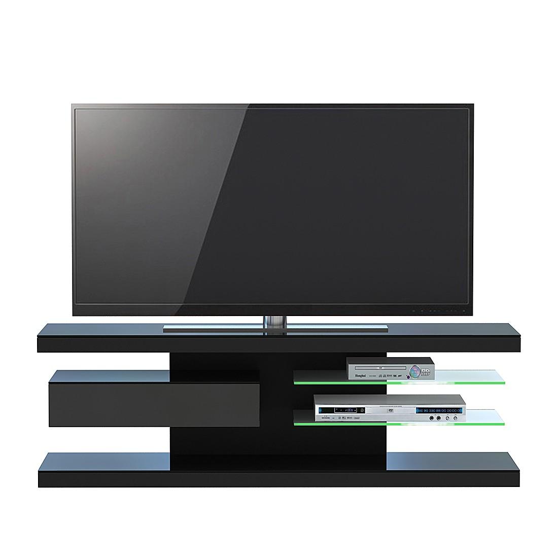 Meuble TV SL 660 - Avec éclairage - Noir mat, Jahnke