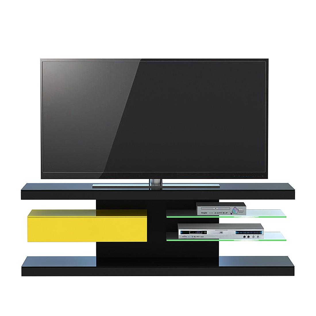 Meuble TV SL 660 - Avec éclairage - Noir / Jaune, Jahnke