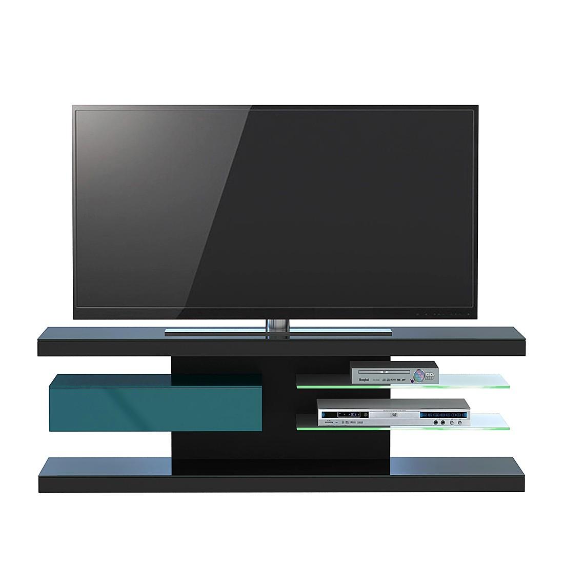 Tv-rek SL 660 - incl. verlichting - Zwart/petrolblauw, Jahnke
