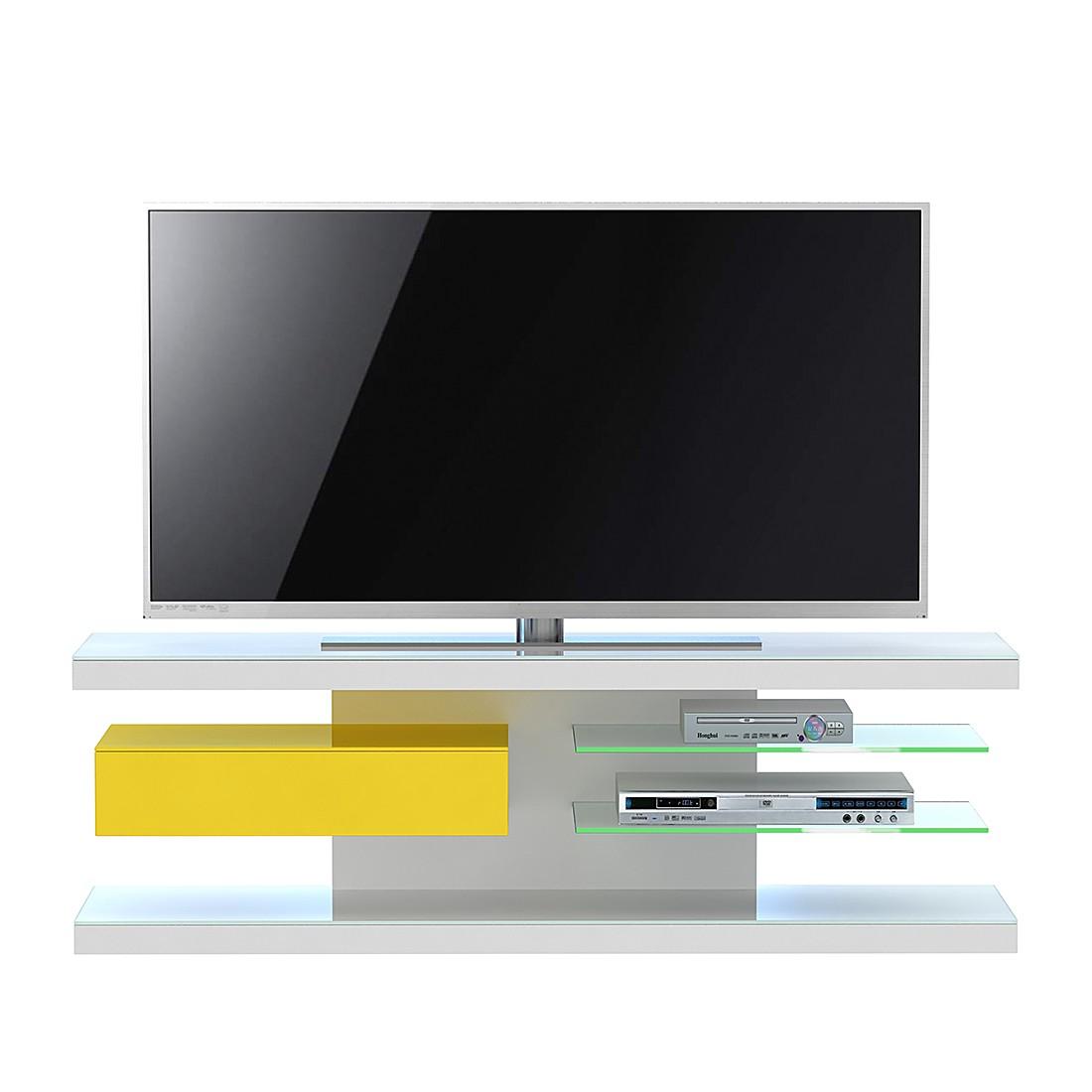 Meuble TV SL 660 - Avec éclairage - Blanc / Jaune, Jahnke