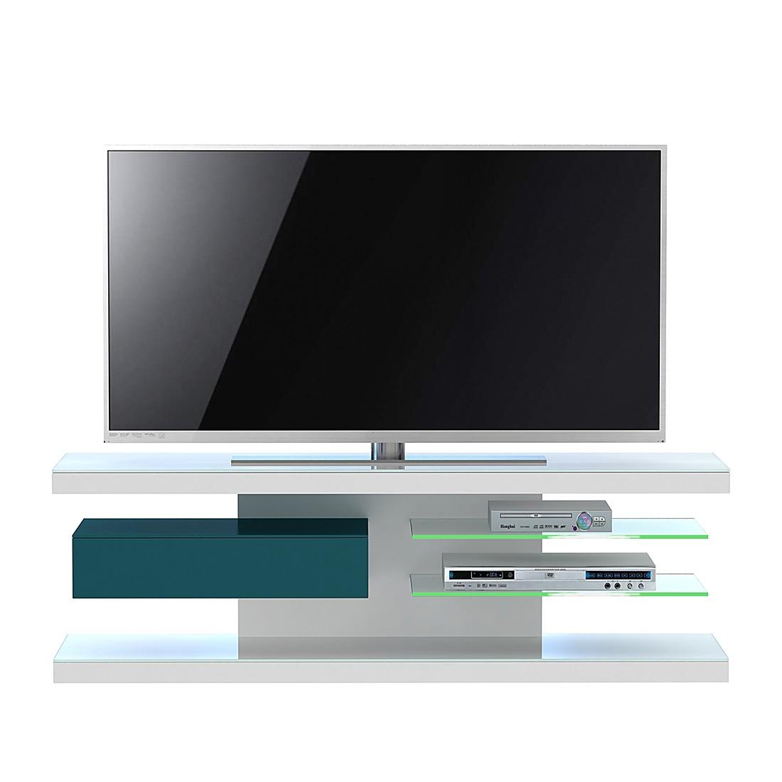 Tv-rek SL 660 - incl. verlichting - Wit/petrolblauw, Jahnke