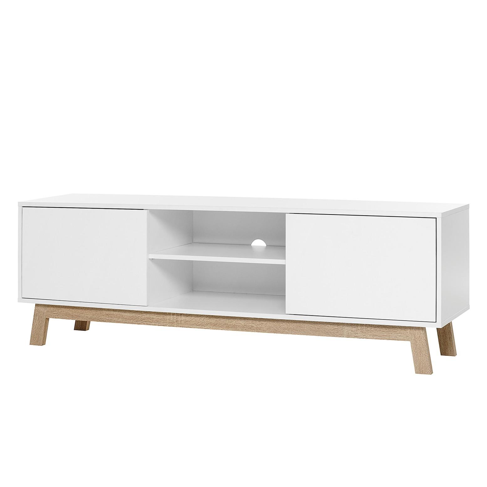 Meuble TV Storberg II - Blanc mat / Imitation chêne Sonoma, mooved