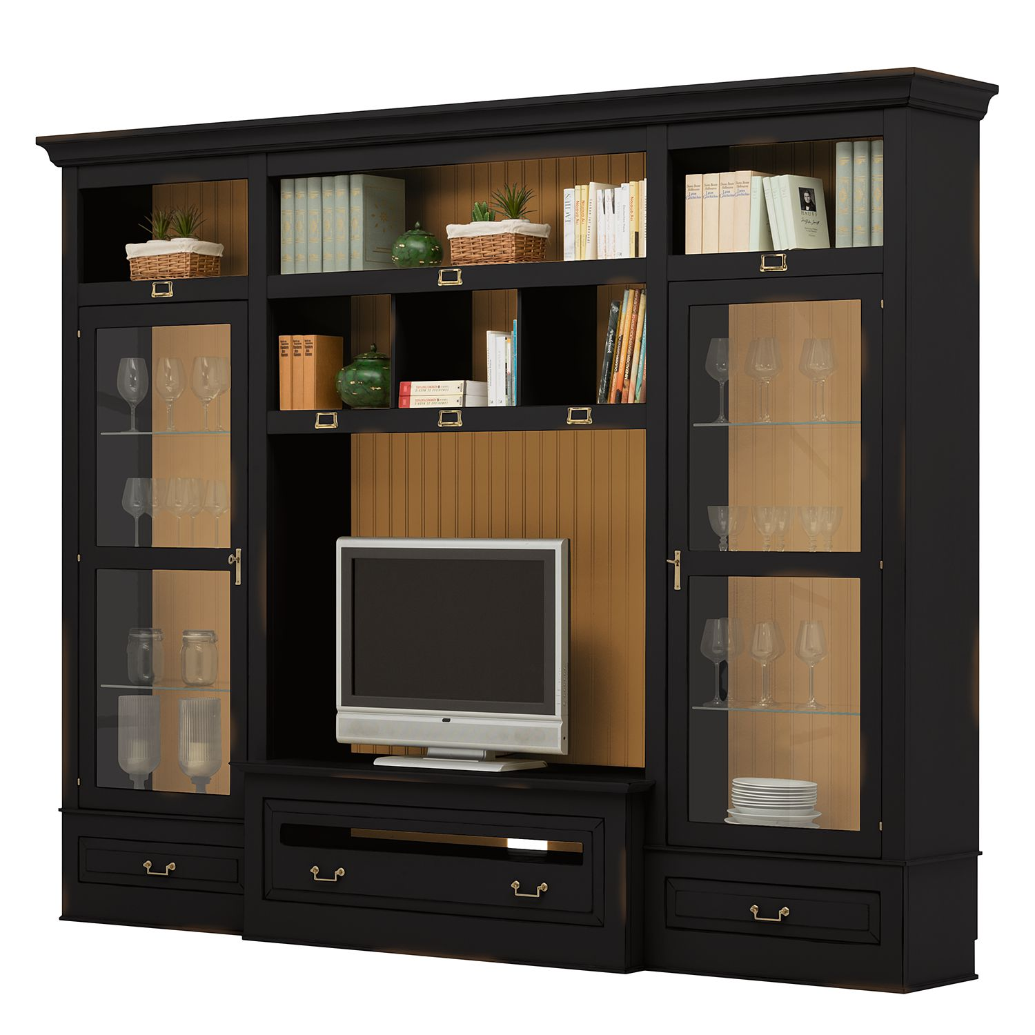 rabatt tv wand azjana ii pinie teilmassiv schwarz pinie honig ohne. Black Bedroom Furniture Sets. Home Design Ideas