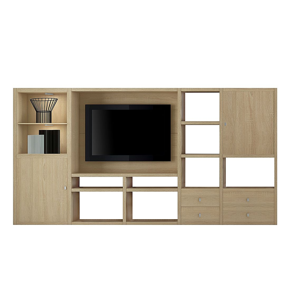 energie  A+, Tv-wand Emporior I - inclusief verlichting - Eikenhouten look, Fredriks