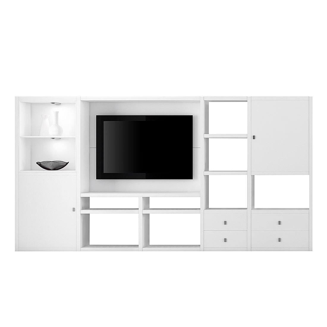 energie  A+, Tv-wand Emporior I - inclusief verlichting - Wit, Fredriks