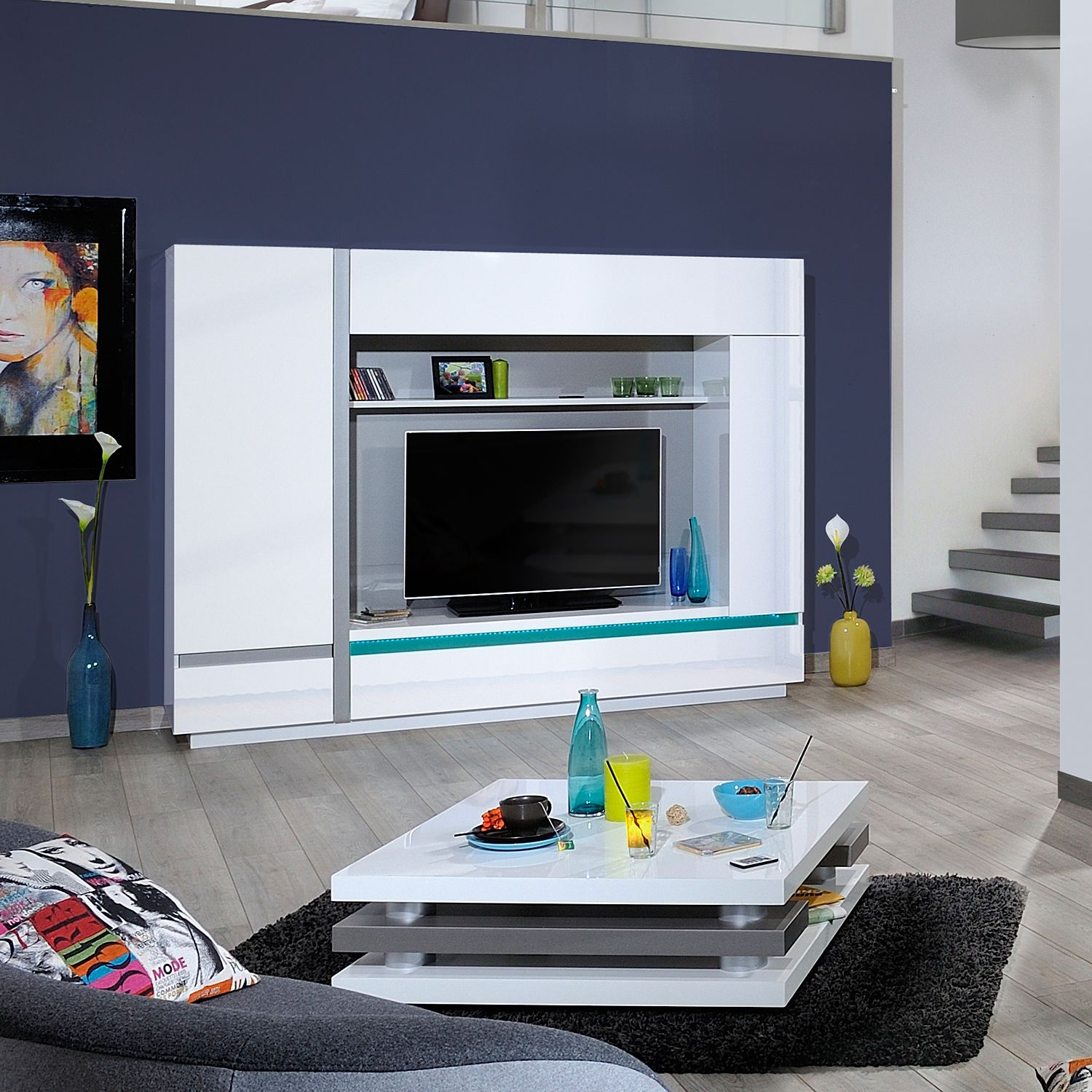 eek a tv wand cross inkl beleuchtung hochglanz wei sciae g nstig. Black Bedroom Furniture Sets. Home Design Ideas